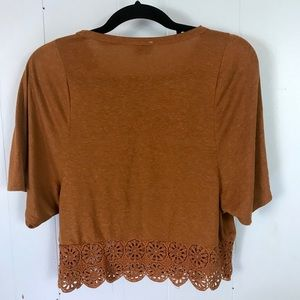 Zara Tops - Zara Trafaluc Brown Crop Shirt w/lacy Trim